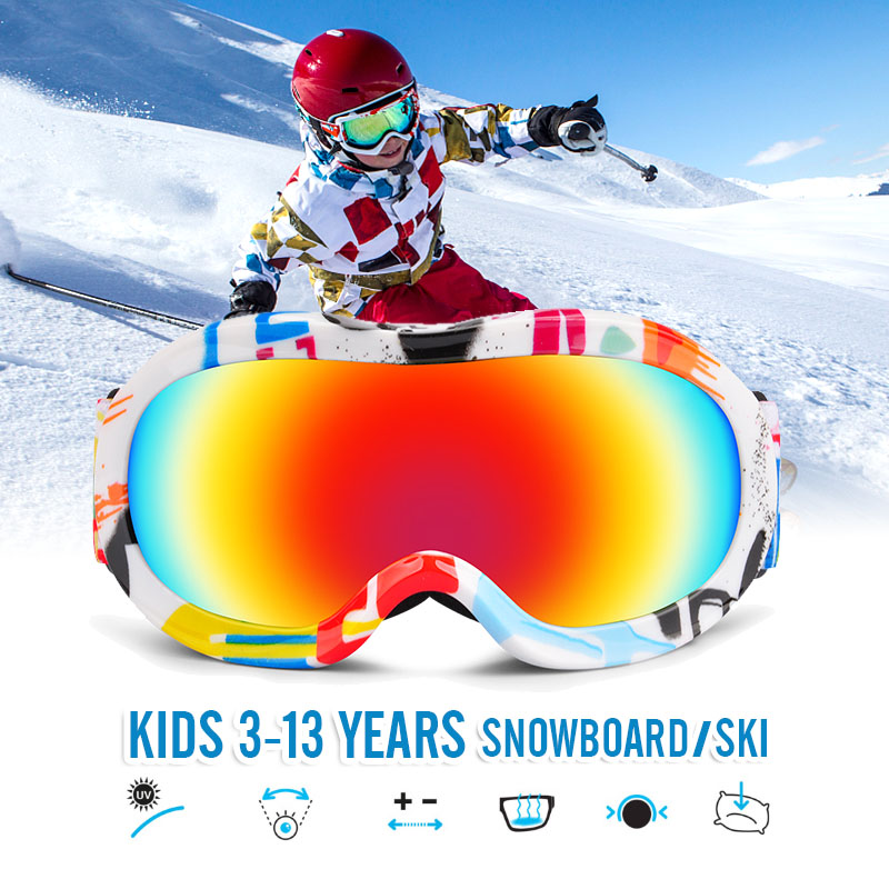 Onedoyee Professional Children Snowboard Goggles Kids Ski Goggles Skiing Glasses Eyewear Anti-fog Snow Glasses For 3-13 Years