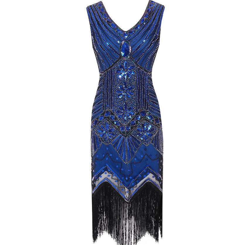 1920s Vintage Flapper Great Gatsby Party Dress V-Neck Sleeveless Sequin Beaded style Style Tassel Flapper Vestidos Feminina 1920 15