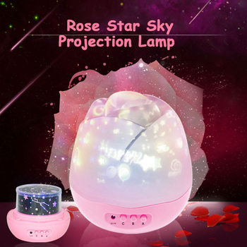 Romantic flower bud star light led starry rotating projection lamp stars night sky projector night light for Luminous decoration wholesale glow in the dark led night light starry luminous toys cosmic sky projection lamp kids toy for children christmas gift
