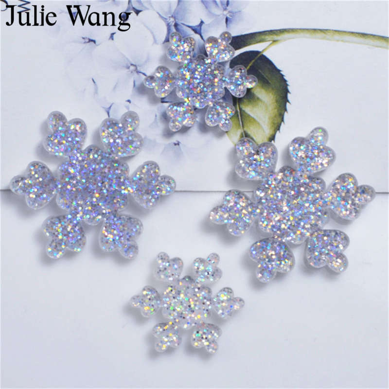 Julie Wang 10PCS Resin Snowflake Sequin Glitter Flash Flat Back Cabochon Charms Jewelry Making Phone Case Decoration Accessory