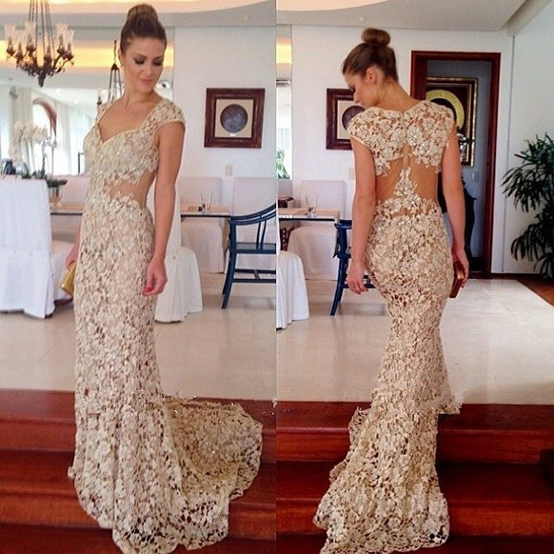 New Arrival Simple Lace   Prom     Dresses   With Sweetheart Neck Cap Sleeve Backless Court Train Charming Evening Party Gowns