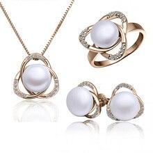Модные Австрийские кристаллы для женщин, Пресноводный Жемчуг, треугольная подвеска, ожерелье/серьги/кольца, ювелирные наборы