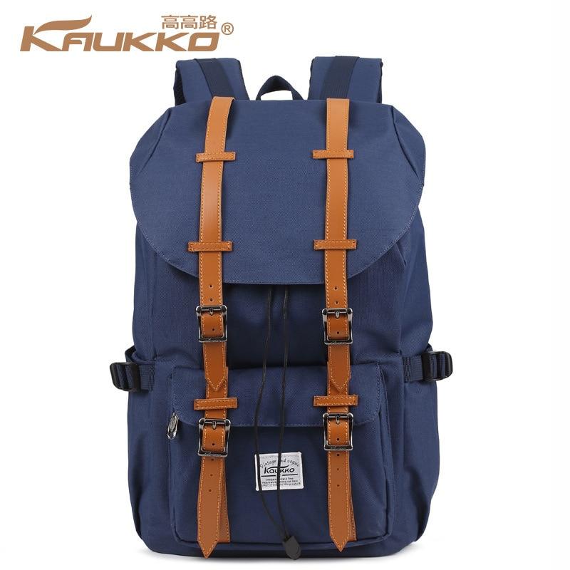 Kaukko Canvas Backpacks Sac Homme Femme  Women Laptop Bag Mochila Black Waterproof School Bags Creeper Backpack