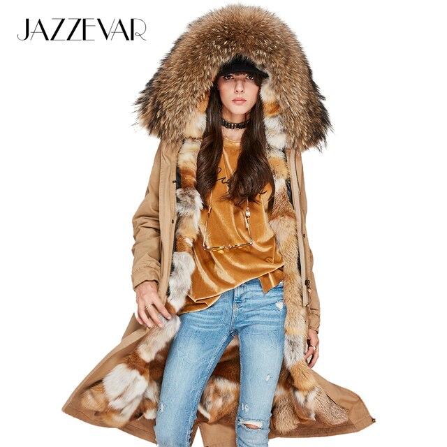 Jazzevar новые зимние модные женские роскошные натуральным лисьим мехом внутри X-длинная парка из меха енота пальто с капюшоном Военная Униформа куртка