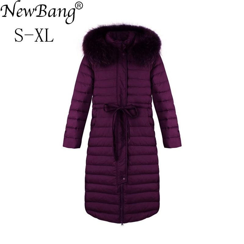 NewBang Fur   Coat   Women's Hooded   Down     Coat   Female Long   Down     Coat   Winter Slim Warm Duck Jackets Parka Women Overcoats