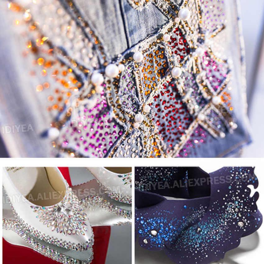Высокое качество Горячая фиксация Стразы SS6 SS10 SS16 SS20 SS30 Стразы плоская задняя часть исправление камней Кристаллы Блестки для DIY одежды платье