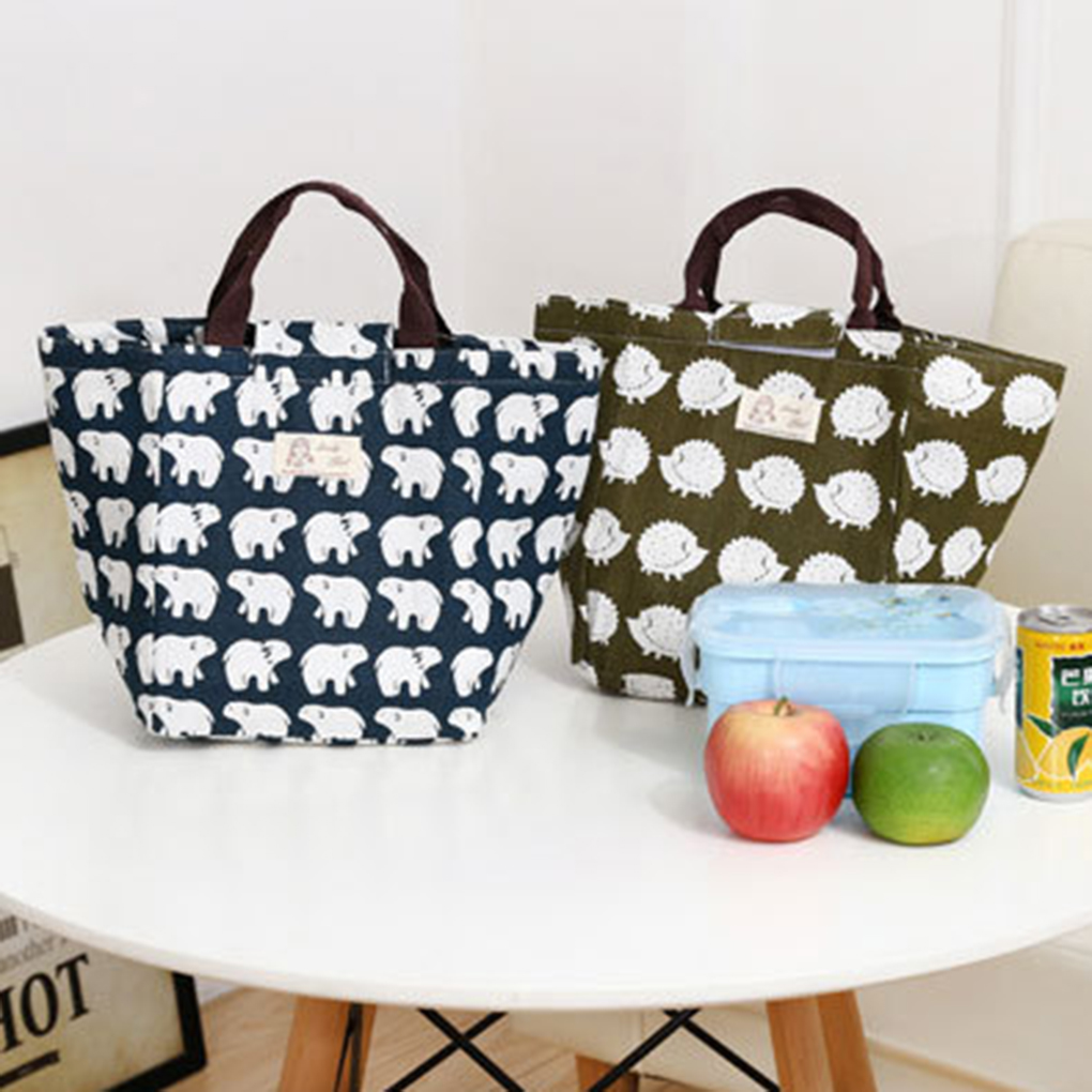 Cotton Blend Linen Lunch Bag Waterproof Insulated Lunch Box for Kids and Adults