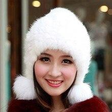 Норки меховая шапка, чтобы Теплая обувь для зимы ручной вязки шапка ухо Женщины