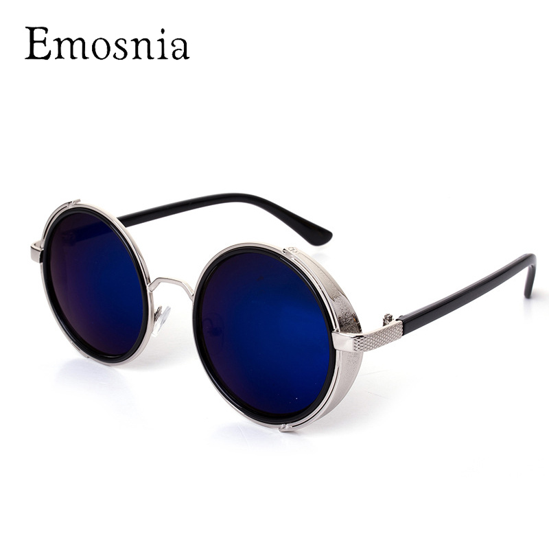 Emosnia Vintage Steampunk Sunglasses Women And Men Round Retro Mirror Brand Designer Sunglass UV400 Oculos Feminina Masculino
