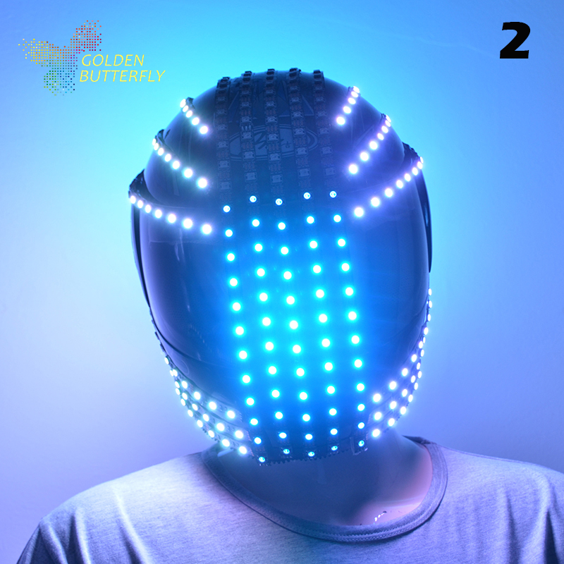 LED Helmets 10 Styles Of 2017 Fashion Luminous Flashing Marquee Glowing Helmet Waterfall Flow LED Robot Helmet Suits Accessories