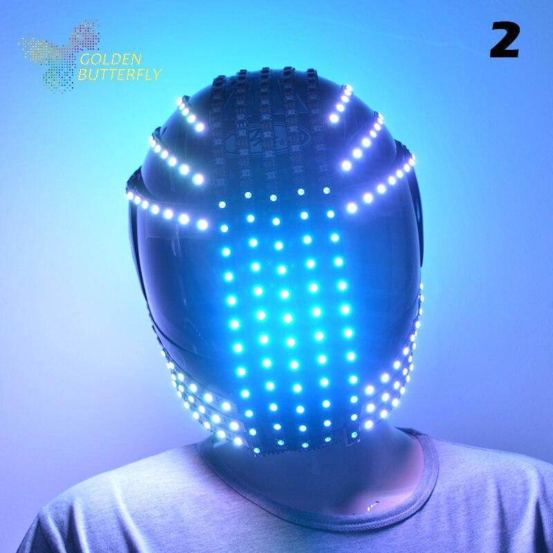 LED přilby 10 stylů 2017 módní světelné blikající markýzy zářící helma vodopád toku LED robotická přilba obleky Příslušenství