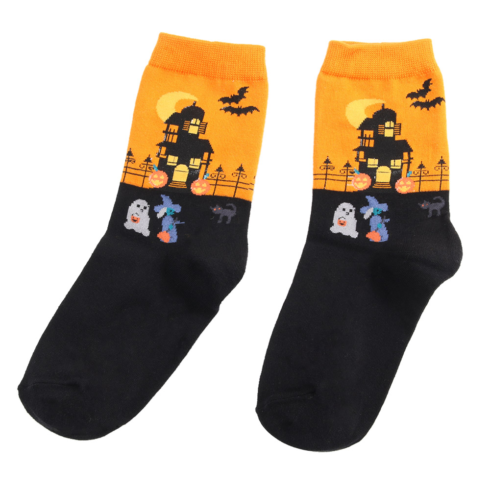 1Pair Cartoon Women   Socks   for Halloween Soft Cotton Warm Men   Socks   Hosiery Party Birthday Gift