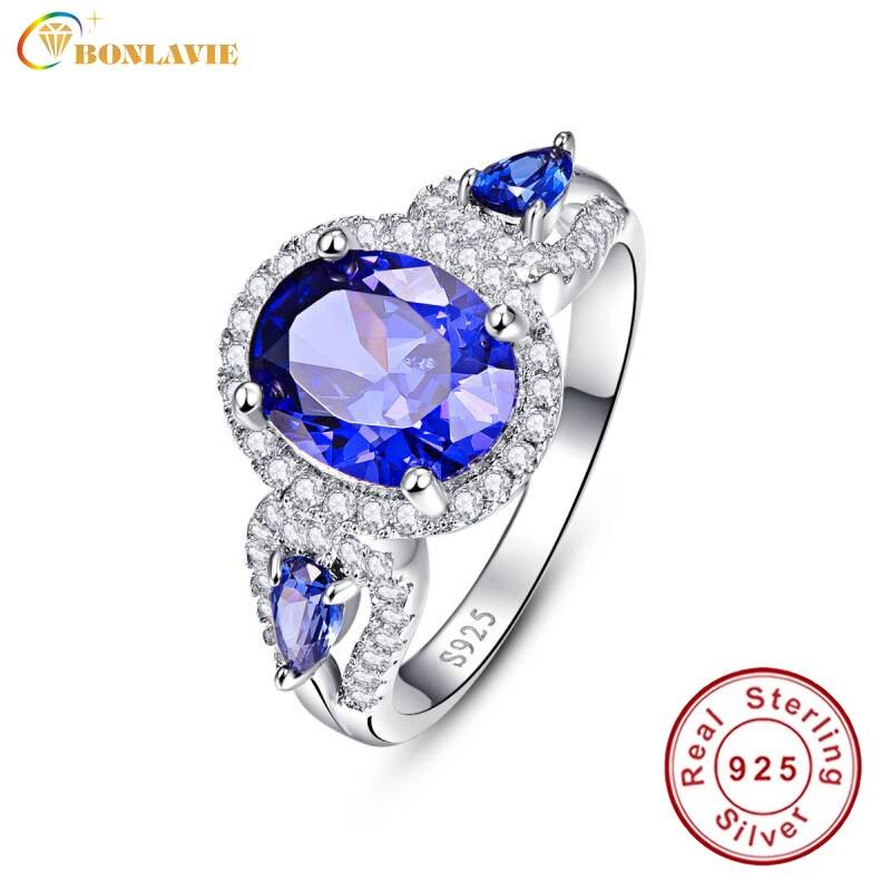 BONLAVIE Oval And Water Drop Blue Sapphire Ring Silver 925 Rings Women Gift Fine Jewelry Size 6 7 8 9 For Women Y0033R12