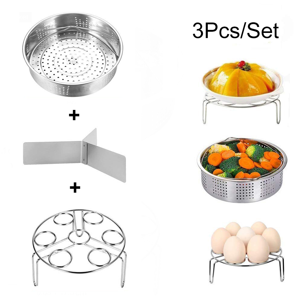Stainless Steel Steamer Basket With Egg Steam Rack Trivet Compatible Instant Pot 5,6,8 Qt Electric Pressure Cooker