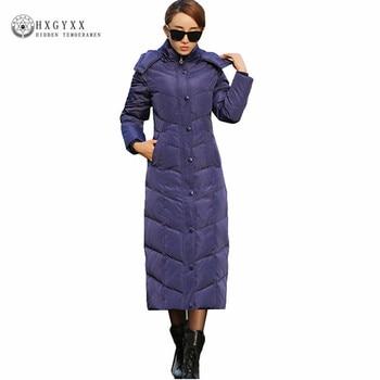 3d99ed87a9e94 X-Largo blanco pato abajo abrigo de plumas de ganso chaqueta mujer invierno  globo chaquetas gruesa cálida Parka con capucha ropa 2019 Okd384