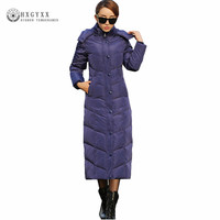 X Long White Duck Down Coat Goose Feather Jacket Women Winter Puffer Jackets Thick Warm Hooded Parka Slim Outerwear 2019 Okd384