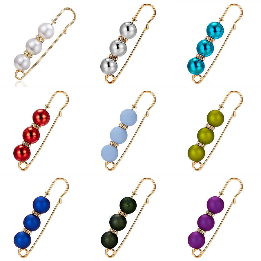 Rinhoo 2019 Korean Gold Alloy Pearl Bead Brooches For Women Cardigan Scarf Anti Wearing Girls Enamel Pin Fixed Straps Brooch