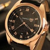 YAZOLE Quartz Watch Men 2016 Top Brand Luxury Famous Wristwatch Male Clock Wrist Watch Rose Gold