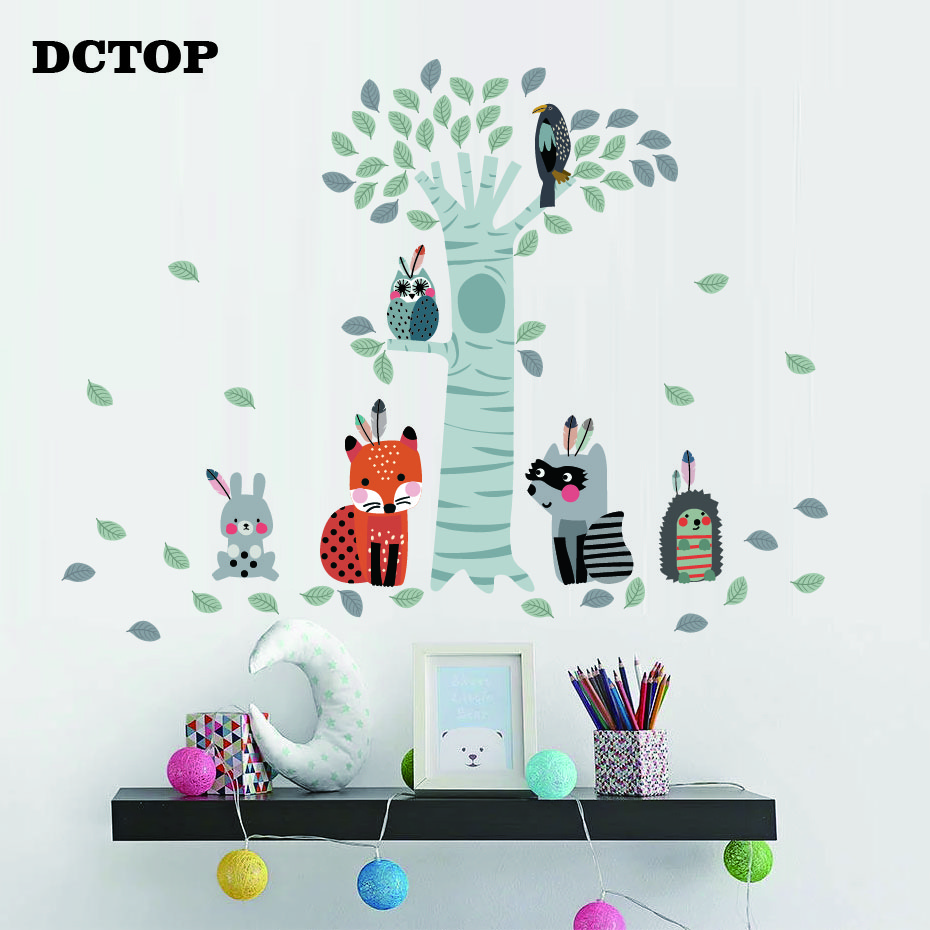 Fox TREE Wall Decal For Kids with animals tree Nursery Wall Decal Raccoon Rabbit Owl and Hedgehog