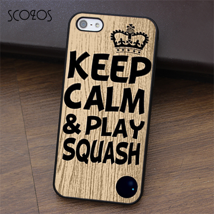 SCOZOS Keep calm & play squash ball racket quote phone case for iphone X 4 4s 5 5s Se 5C ...