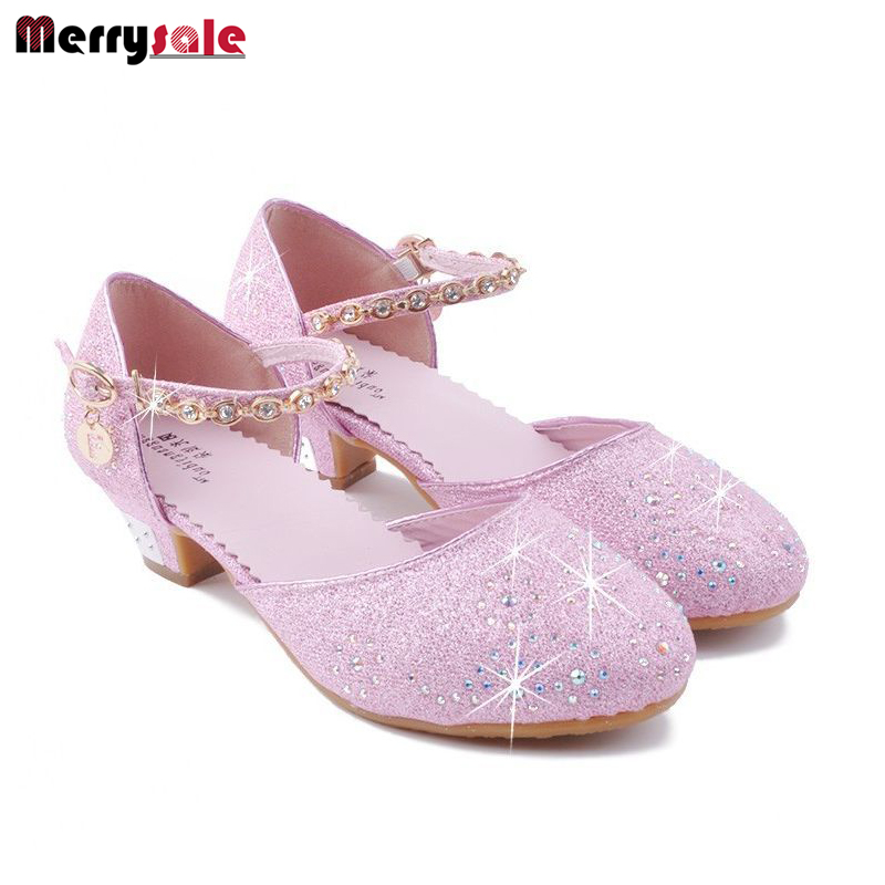 Girls single shoes 2016 new childrens high heels crystal shoes Baotou semi sandals shoes Princess