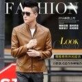 2016 men's leather clothing short design slim outerwear men's clothing PU leather motorcycle leather jacket 8835