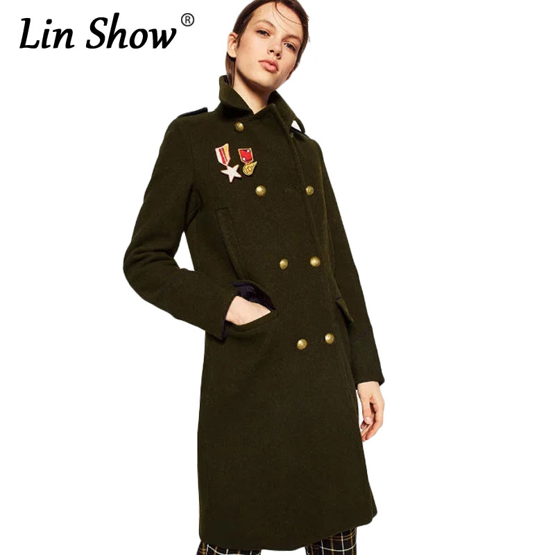 LINSHOW Pattern Patches Women Long Trench Army Green Double Breasted Wool Ladies Overcoat Winter Pockets Outwear Windbreaker