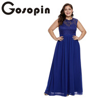 Gosopin Long Pleated Plus Size Lace Dresses Sexy Summer Prom Maxi Dress Hollow Out Elegant Party Women Dress 2019 New LC611037