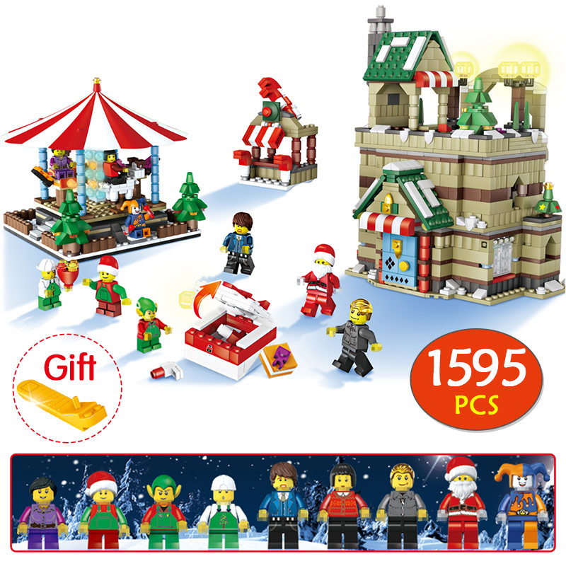 цена на 1595Pcs Christmas Series Winter Village Compatible Legoingly Christmas Carousel Santa Reindeer Building Bricks Blocks Toys Gift