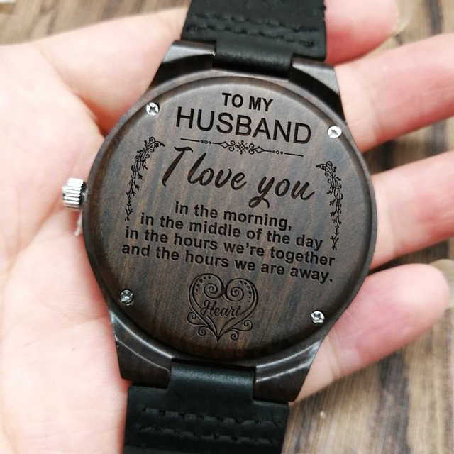 Wife To My Husband Engraved Wooden Watch I Love You In