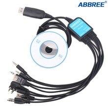 Abbree 8 w 1 USB komputera kabel do programowania CD dla Kenwood Baofeng w telefonie Motorola Yaesu Icom HYT Walkie Talkie samochód mobilna 2 Way Radio