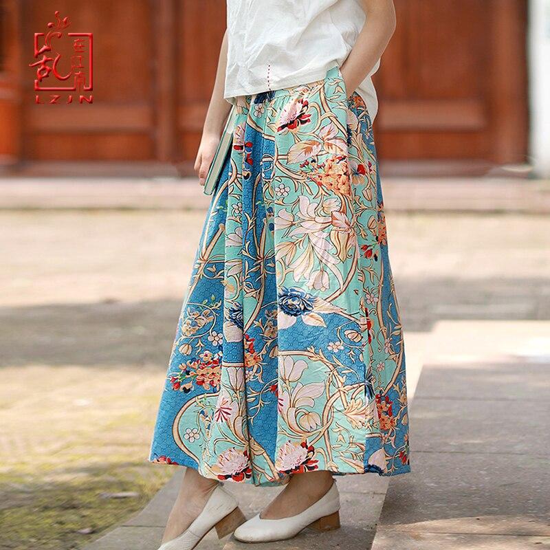 LZJN Women's Summer Casual Retro Print Bohemian Wide Leg Elastic Waist Skirts   Pants   Loose Trousers   Capri   Beach Holiday   Pants