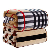 High Density Thicken Soft Flannel Blanket 4 size sofa bed sheet 8 designs Plaid double side sprin Winter thick warm blanket