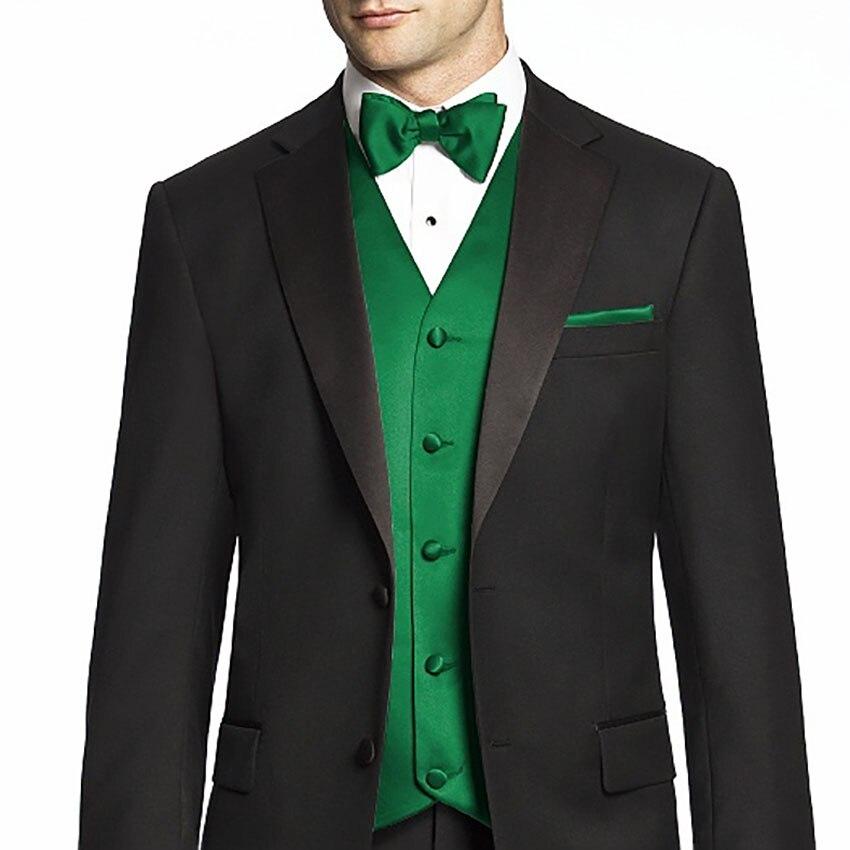 Erkek Kıyafeti'ten T. Elbise'de Trajes De Novio Yeşil Smokin Yelek Ismarlama Siyah Takım Elbise Koyu Yeşil Smokin Yelek, özel Yapılmış Düğün Erkekler Için Suits'da  Grup 1