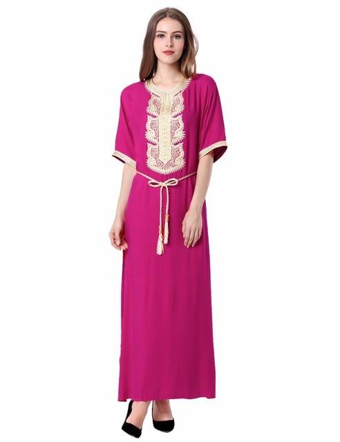0e06459590 De las mujeres Vestido Maxi Larga Musulmán Dubai Kaftan marroquí Caftán  Jilbab Turco árabe Islámico del