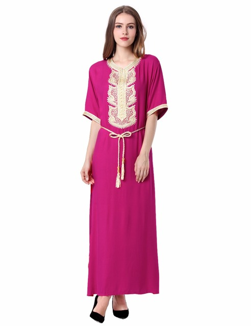 Women's Maxi Muslim Long Dubai Dress moroccan Kaftan Caftan Jilbab Islamic Abaya Muslim abaya Turkish arabic dress robe 1604