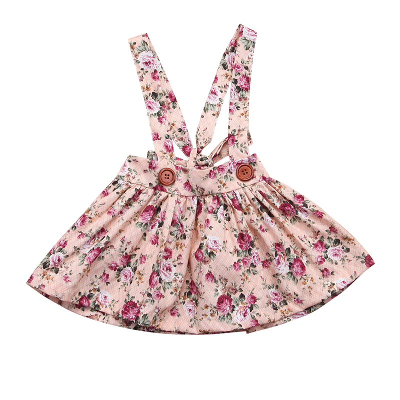 2018 New Girls Dresses Summer Fashion Toddler Kids Baby Girls Floral Printing Sleeveless Clothes Party Bib Strap Tutu Dress 0-4Y vintage red rhinestone bean sprout brooch for women