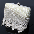 Imitation pearl women bags clutch evening bags tassel fashion ladies diamonds beaded evening bags for birthday gift purse
