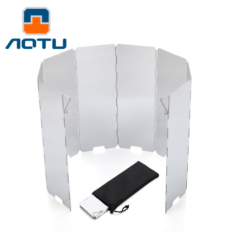 AOTU 8 Plates Foldable Outdoor Camping Cooking Cooker Gas Stove Wind Shield Screens Aluminium Alloy Windshield +Protecting Bag
