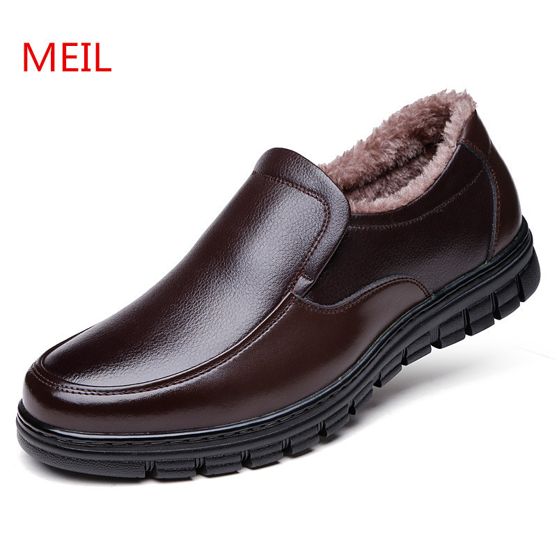 MEIL Winter Men Shoes Fashion plush warm Genuine Leather Shoes Men Flats Loafers Casual footwear men's outdoor large size shoes finn flare azalea