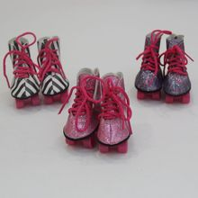 1 Pair Glitter Doll Roller Skates  For 18 Inch American Doll Boots For 43cm Baby New Born Dolls Doll Accessories Gift For Girl