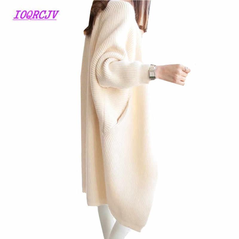 Knit Sweater Cardigan Coat Women's Spring autumn Bat sleeve Medium length Knitting Sweater Big size Loose Casual Female Tops B74
