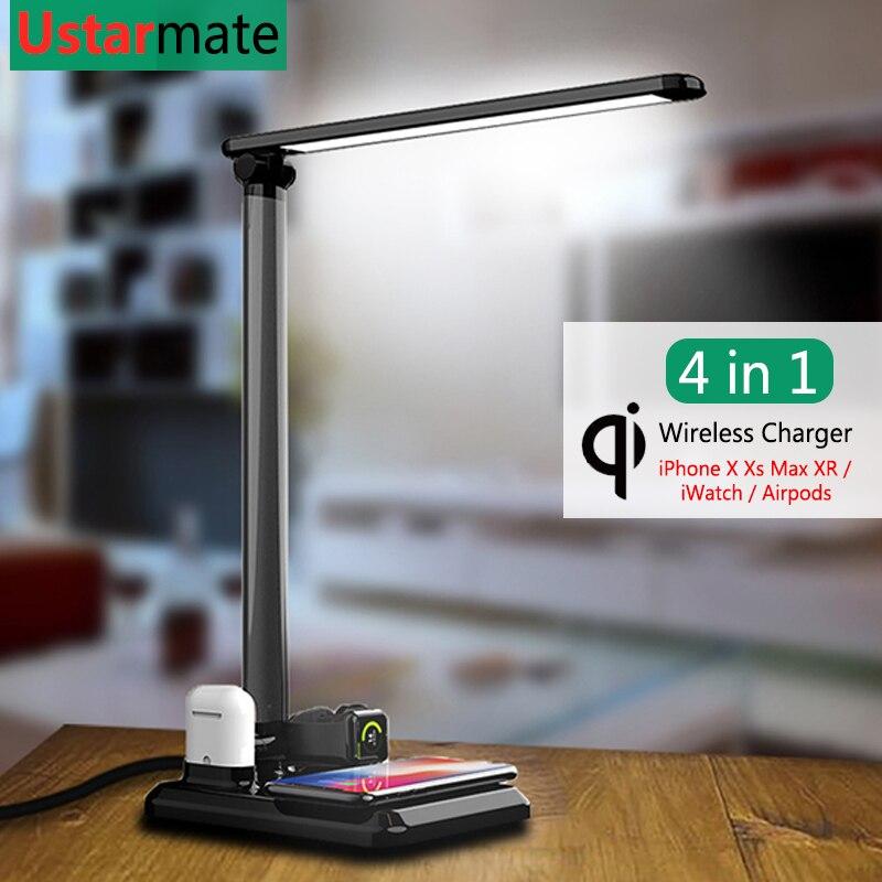 Qi chargeur sans fil lampe de Table pour iPhone Samsung Smartphone support de Charge montre Charge pour iWatch Airpods adaptateur de Charge