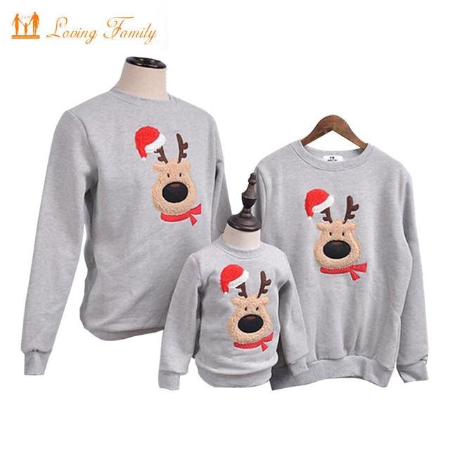Kersttrui Matching.Family Clothing 2019 Winter Sweater Christmas Deer Children Shirts