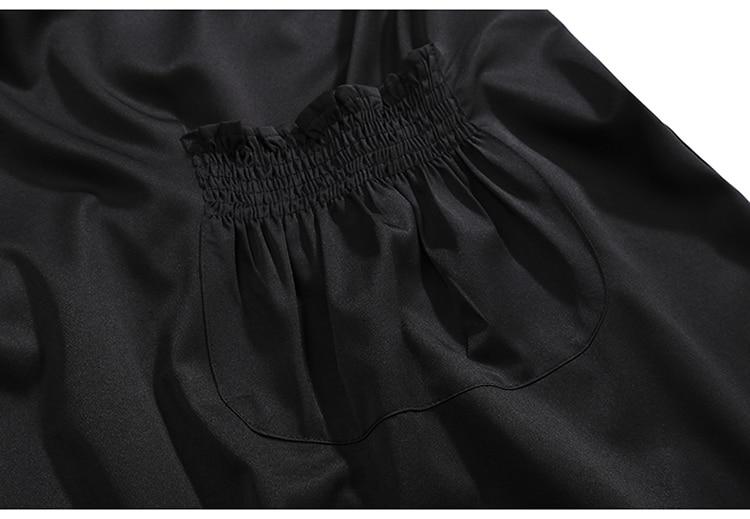 HTB1cIGTKb1YBuNjSszeq6yblFXac 2019 Korean Style Women Very Long Solid Black Jacket Open Design Long Tape Stitched Metal Holes Female Stylish Loose Jacket 3843