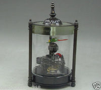 Collectible Decorado Old Copper Esculpir Libélula Joaninha relógio De Mesa Mecânica