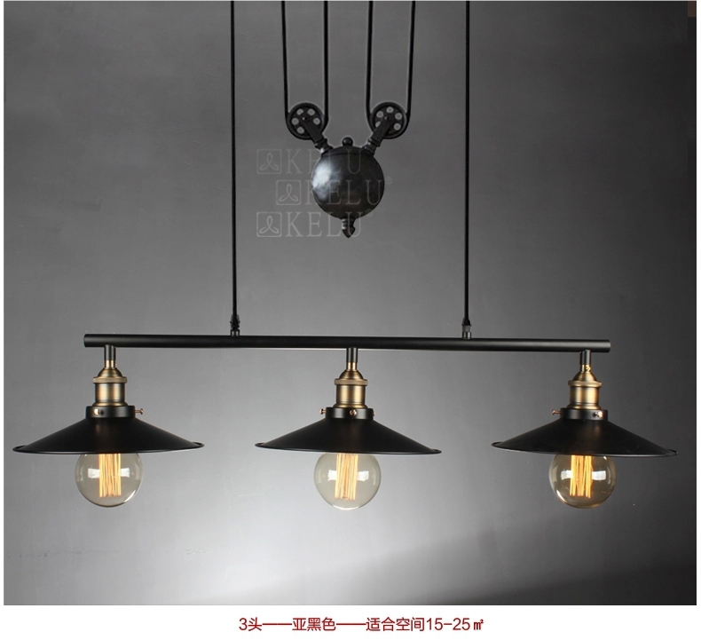 Vintage Pendant Lights Lustres Retro Lamp Black Iron Drop
