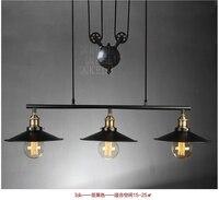 Vintage Pendant Lights Lustres Retro Lamp Black Iron Drop Lamp for Coffee Shop Living Room Lustres Pendant light Retro