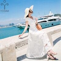 YOSIMI 2017 Summer Maxi Hollow Out Elegant Long Dress Short Sleeve V Neck Beach Long Dress