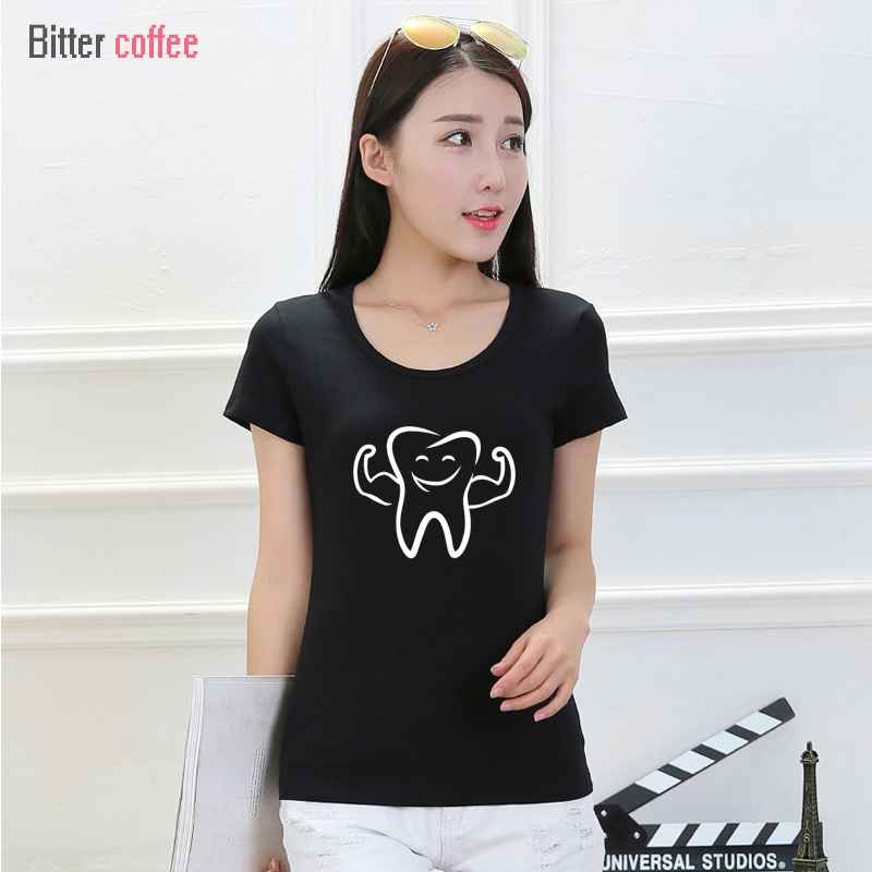 BITTER COFFEE Brand New Fashion Women T-shirt Brand Short Sleeve Cotton Smile Tooth Pattern O-neck T Shirt ,Free Shipping